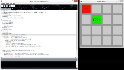 The game 2048 with Processing (Java / js) in around 100