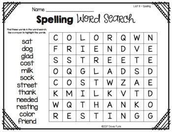 Word Searches for First Grade Spelling - Great for