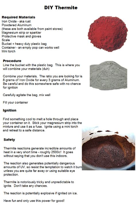 DIY Thermite Required Materials Lron Oxide Aka Rust