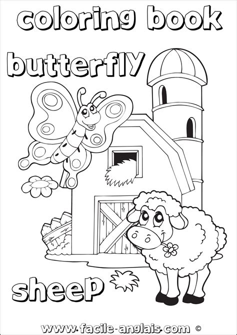 Coloring Book sheep Butterfly (Coloriage mouton papillon