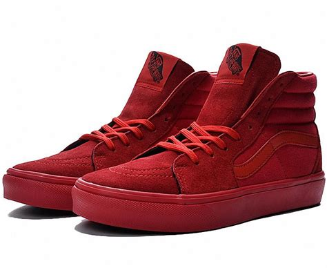 Vans 2016 All Red Yeezy Classic Sk8-Hi Fashion Canvas