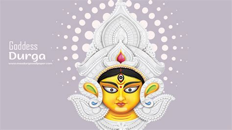 Maa Durga face photo depicted with beautiful crown